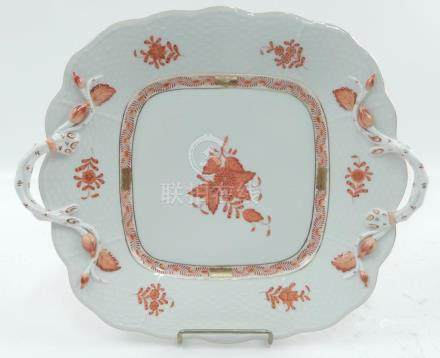 Herend Chinese Bouquet Rust handled platter