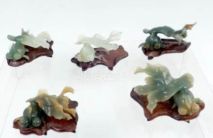 Five Chinese carved hardstone koi fish