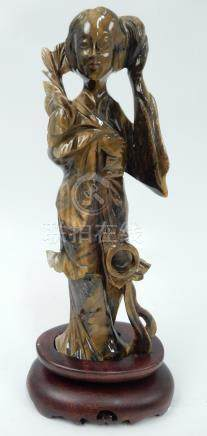 Chinese carved tiger's eye Quan Yin