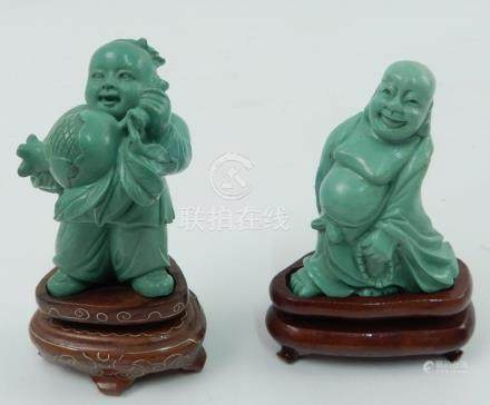 Two Chinese turquoise carvings