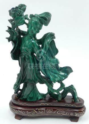 Chinese carved malchite Quan Yin