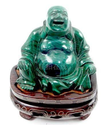 Chinese carved malachite seated Buddha