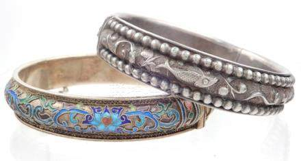Two Chinese silver bracelets