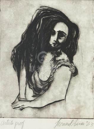 倫納德巴斯(Leonard Baskin)  人物銅蝕版畫連框