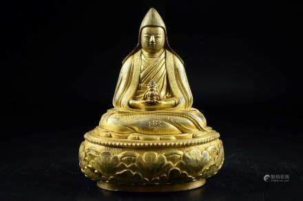 GILT BRONZE CAST 'JE TSONGKHAPA' SEATED FIGURE