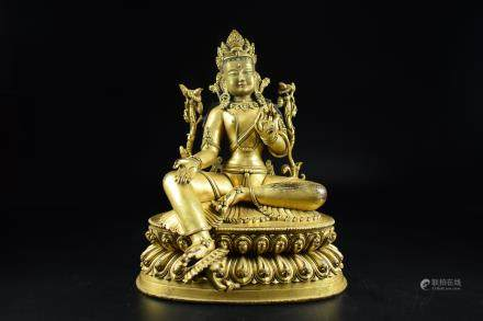 GILT BRONZE CAST 'PADMASAMBHAVA' SEATED FIGURE