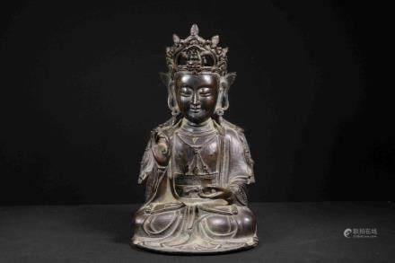BRONZE CAST AVALOKITESHVARA SEATED FIGURE