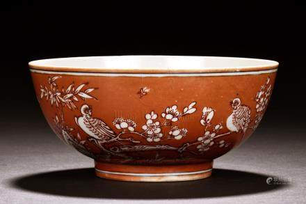 CORAL GROUND 'FLOWERS AND BIRDS' BOWL