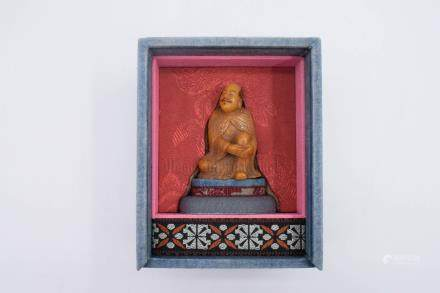 TIANHUANG SOAPSTONE CARVED 'ARHAT' FIGURE