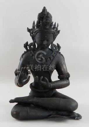 Tibetanischer, sitzender Buddha, Bronze, 19. JH, H 49 cm