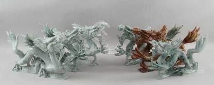 Konvolut Drachen, sechs Stück, Jade geschnitzt, ~ 40 cm