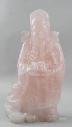 Buddha aus Rosenquarz, H 32 cm