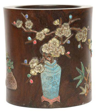 黃花梨木貼八寶清供筆筒