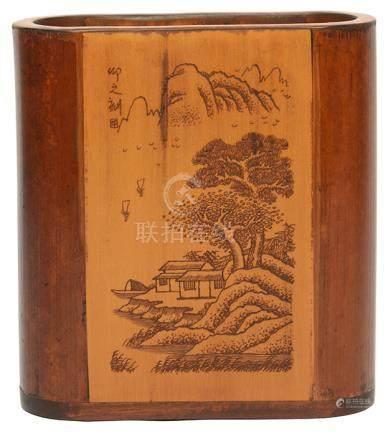 硬木貼竹黃山水泛舟筆筒