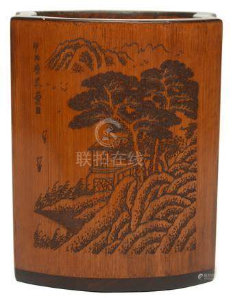 硬木貼竹黃山水人物筆筒