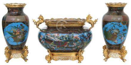 French Bronze and Chinese Cloisonne Console Set