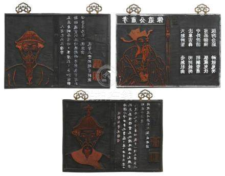 3 Japanese 19th Century Carved Woodblock Plates
