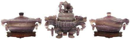 3 Carved Chinese Amethyst Censers