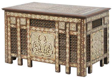 Anglo-Indian Inlaid Teak Wood Table