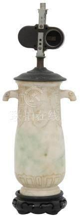 Carved Chinese Jade Lamp Base