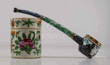 Chinese Enamel Pipe and Small Export Box
