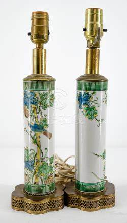 Pair Chinese Famille Verte Lamps