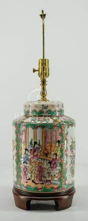 Chinese Rose Medallion Ginger Jar Lamp