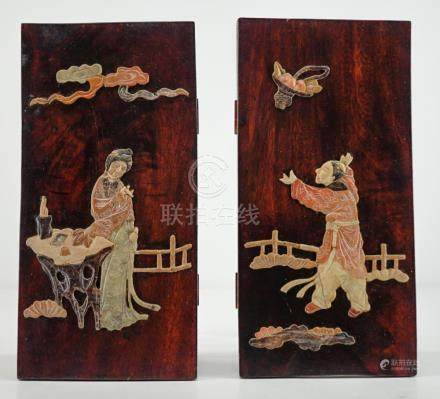 Pair Chinese Inlaid Soapstone Plaques