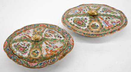 Pair Chinese Export Rose Medallion Servers
