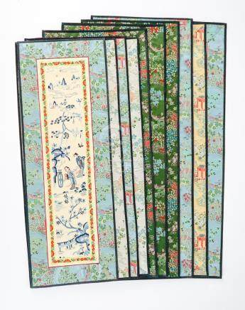 Ten Chinese Silk Embroidered Panels