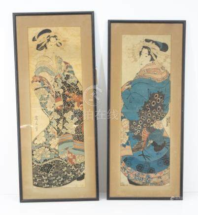 Two Antique Japanese Framed Diptych Woodblocks