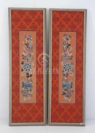 Pair of Chinese Embroidered Sleeve Panels