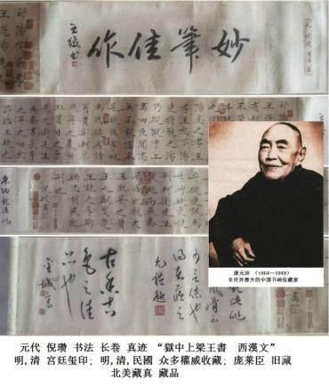 元 倪瓒 (1301-1374) 书法 长卷 明宫,清宫鉴藏, 乾隆-石渠宝笈,庞莱臣 旧藏 '獄中上梁王書'