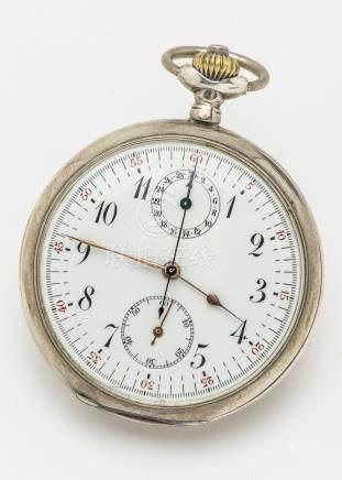 Chronographe de poche en argent (925 millièmes), cadran émaillé blanc à chemin