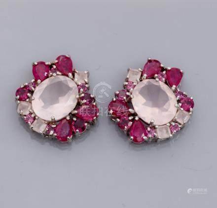 Paire de boucles d'oreilles en argent 925, serties de quartz roses, rubis trait