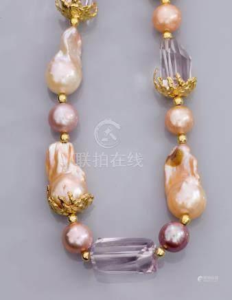 Collier en vermeil 925, serti de perles de culture roses baroques diamètre 13/1
