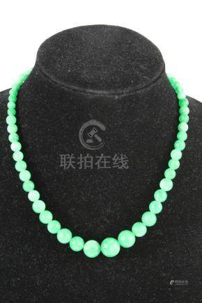 Chinese jadeite bead necklace.