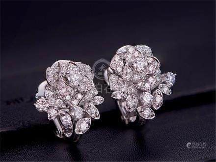 PIAGET 18K WHITE GOLD DIAMOND EARRINGS
