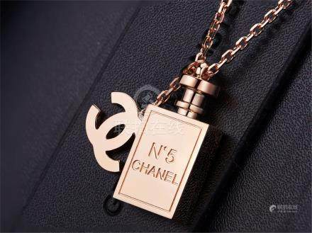 CHANNEL 18K ROSE GOLD NECKLACE