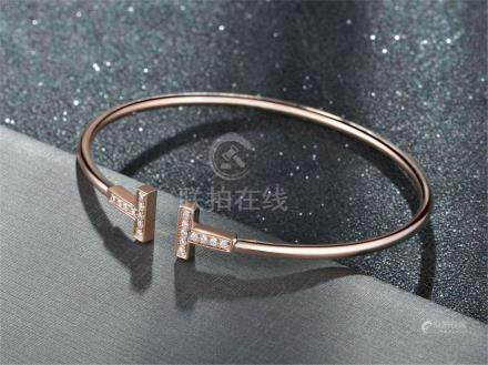 TIFFANY TT 18K ROSE GOLD DIAMOND BRACELET