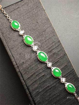 18K WHITE GOLD DIAMOND NATURAL JADEITE BRACELET