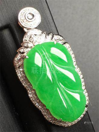 18K WHITE GOLD DIAMOND NATURAL JADEITE LEAF PENDANT