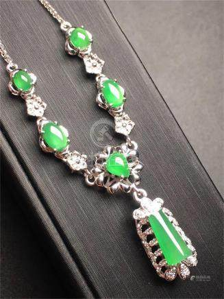 18K WHITE GOLD DIAMOND NATURAL JADEITE NECKLACE