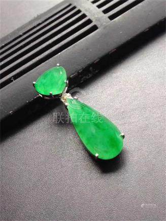 18K WHITE GOLD DIAMOND NATURAL JADEITE PENDANT