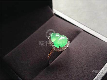 18K WHITE GOLD DIAMOND NATURAL JADEITE GOURD PENDANT