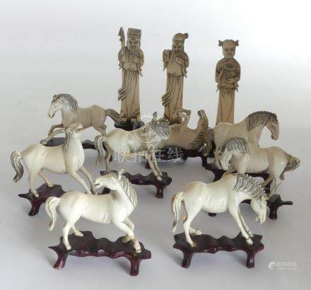 LOT de chevaux du bonheur, on y joint trois personnages en os, Chine