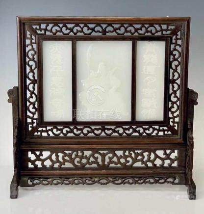 CHINESE CARVED WOOD AND WHITE JADE SCREEN