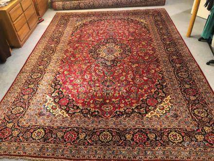 PERSIAN ANTIQUE KASHAN RUG – 9.8 x 13.4 - 70+YRS (1940s)