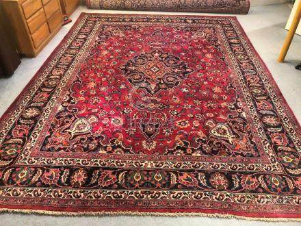 PERSIAN ANTIQUE MASHAD RUG – 9.5 x 12.8 - 80+YRS (1930s)
