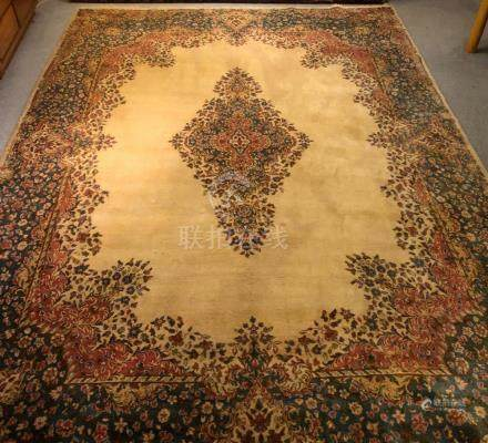 PERSIAN ANTIQUE KERMAN RUG – 8.10 x 12.6 - 80+YRS (1930s)